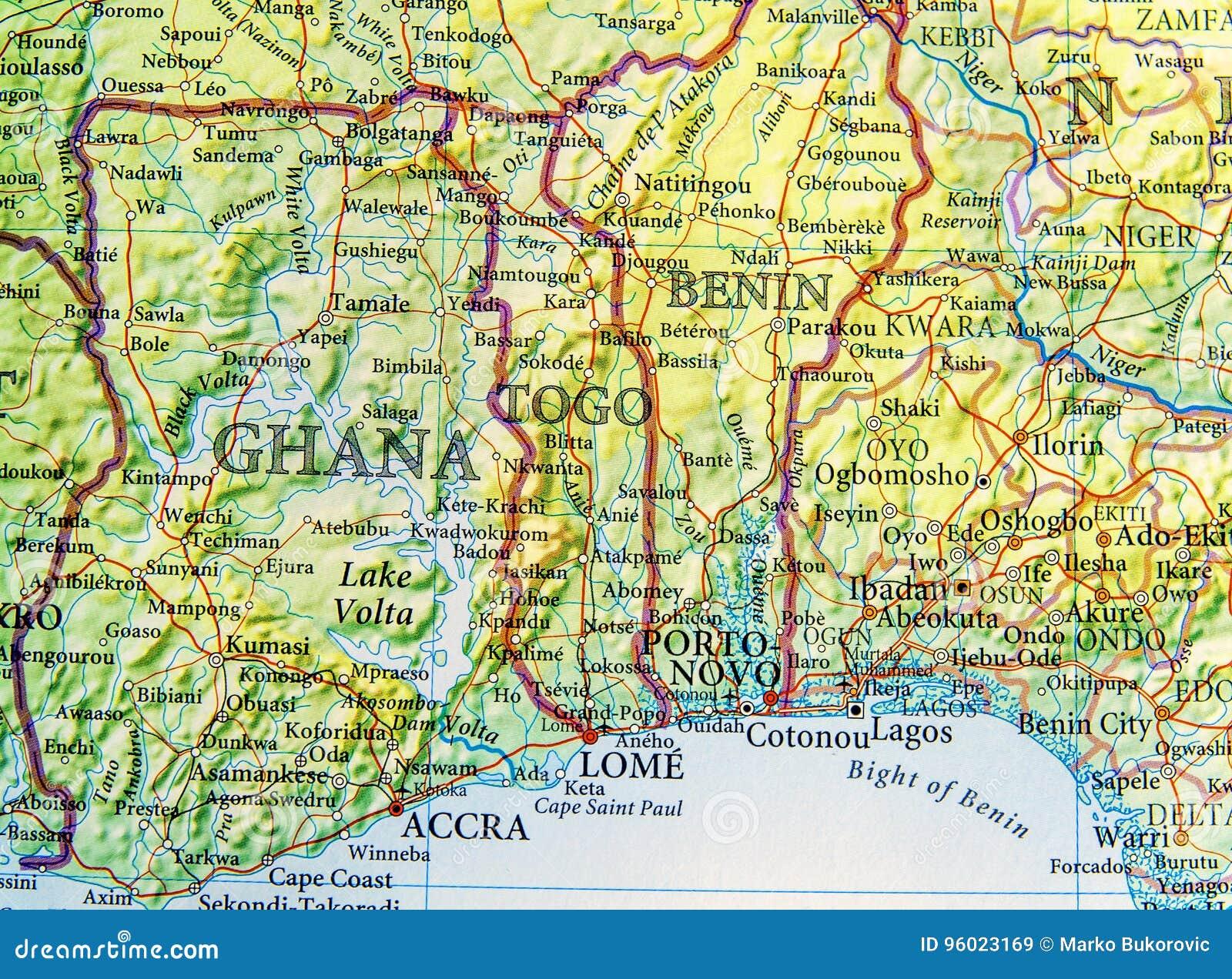 Ghana Karte.Geographische Karte Von Ghana Von Togo Und Von Benin Mit