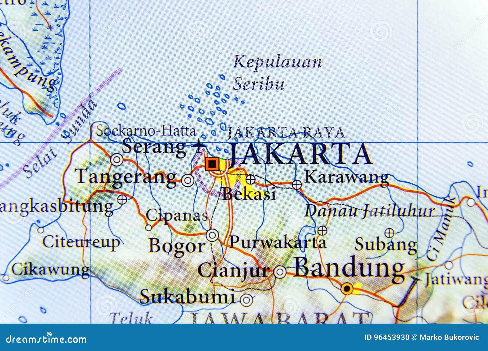 jakarta karte Geographische Karte Von Hauptstadt Jakarta Indonesiens Stockfoto