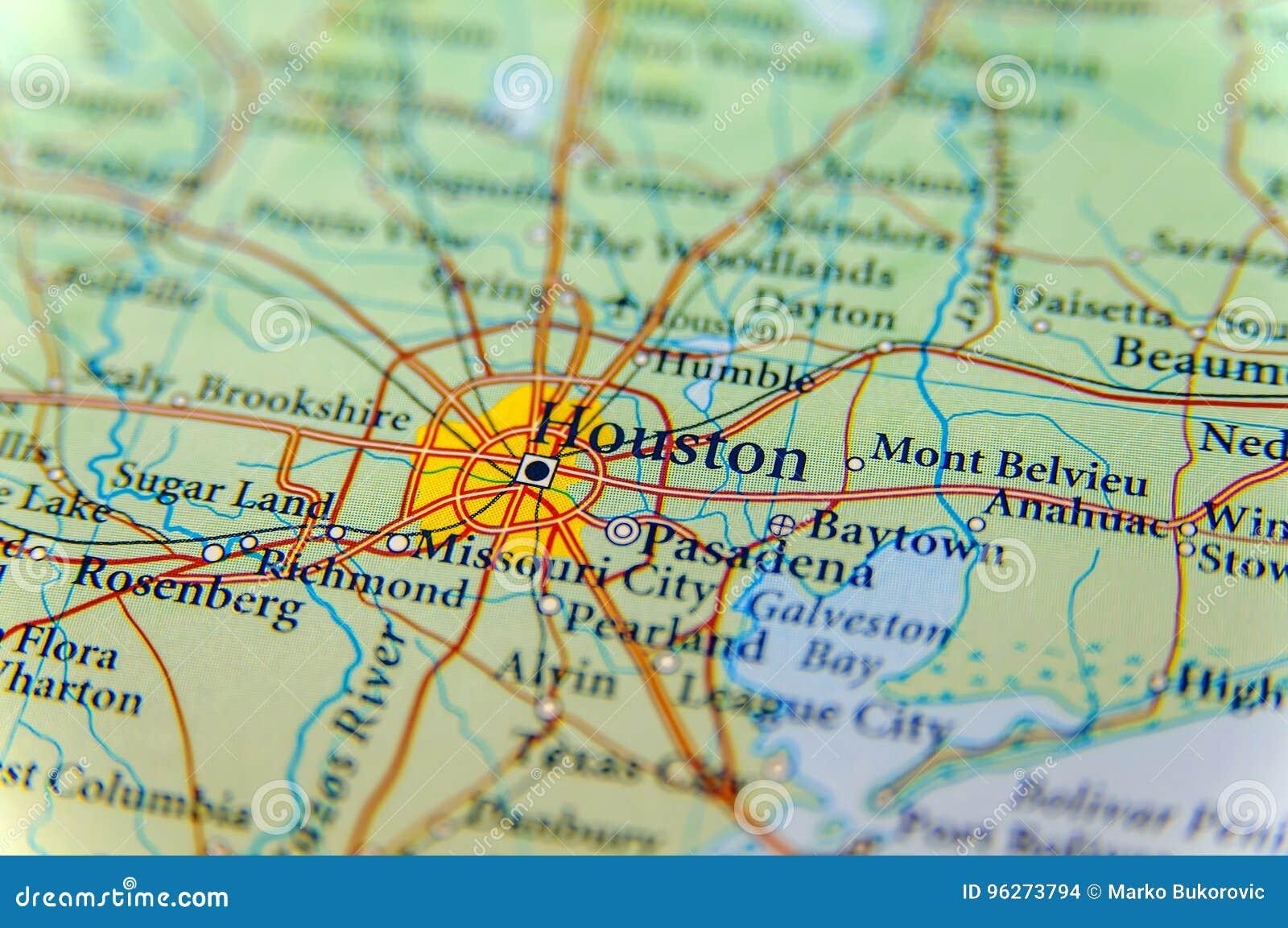 Geographische Karte von Houston-Abschluss