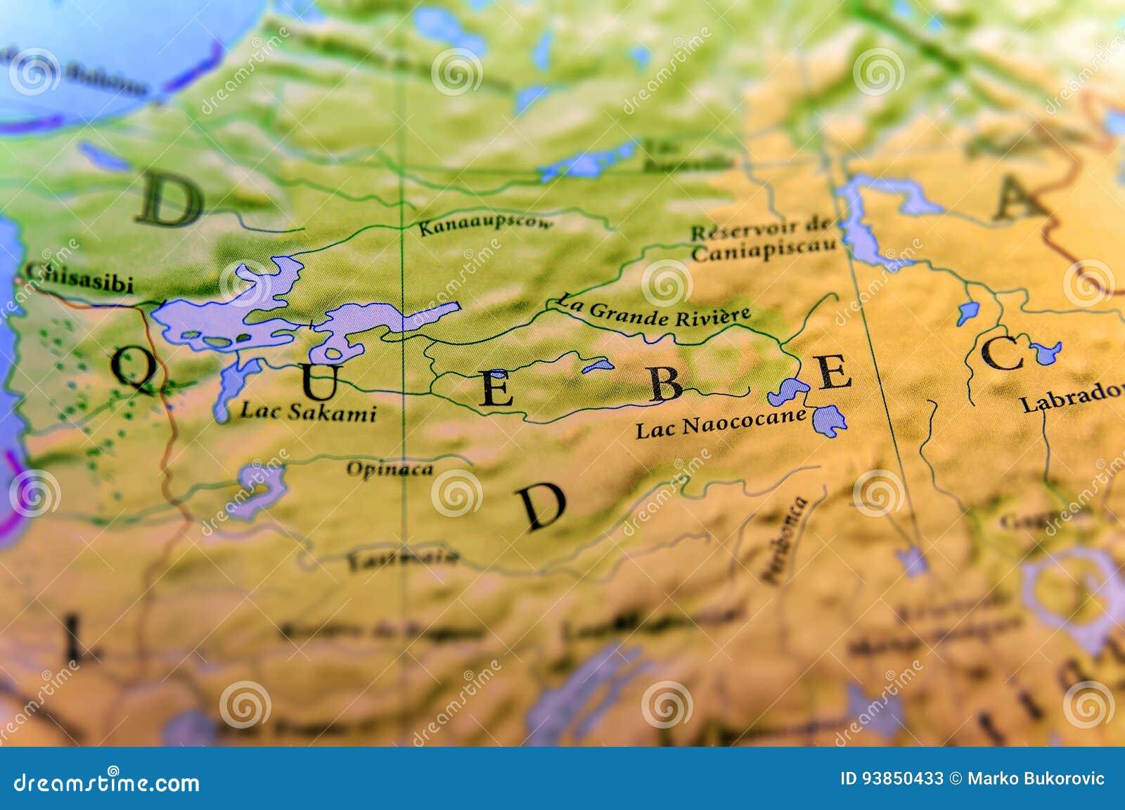 Quebec Karte.Geographische Karte Von Kanada Staat Quebec Mit Wichtigen Städten
