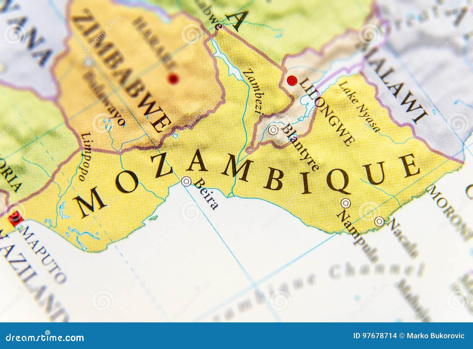 Mosambik Karte.Geographische Karte Von Mosambik Mit Wichtigen Städten Stockfoto