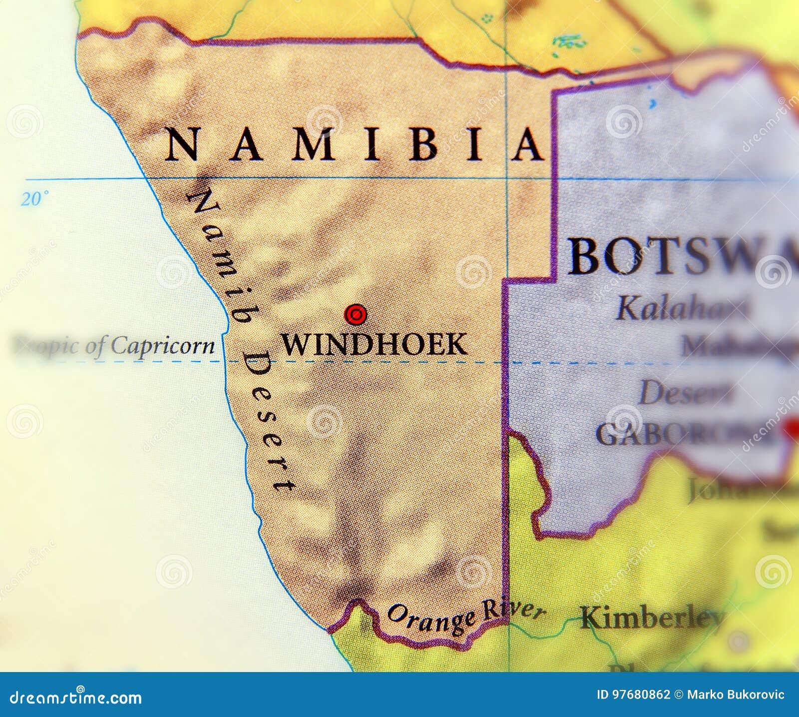 Karte Namibia Download.Geographische Karte Von Namibia Mit Wichtigen Städten Stockfoto