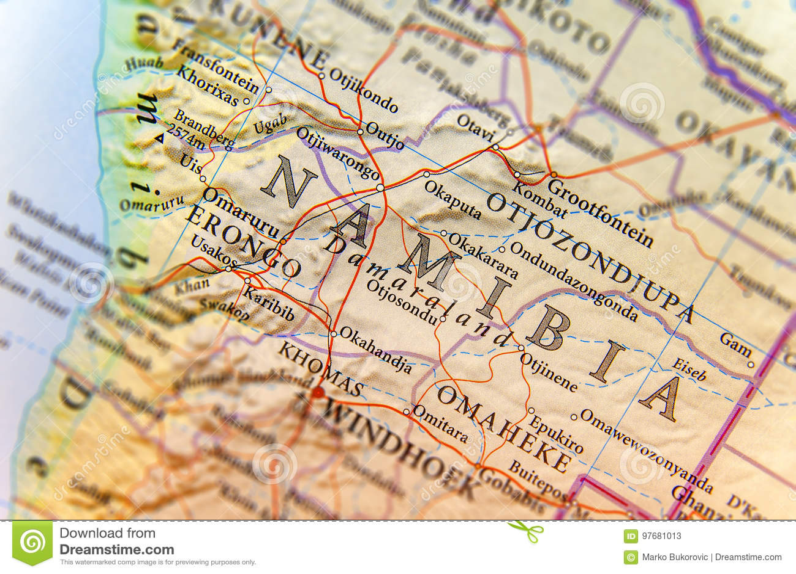 Karte Namibia Download.Geographische Karte Von Namibia Mit Wichtigen Städten Stockbild