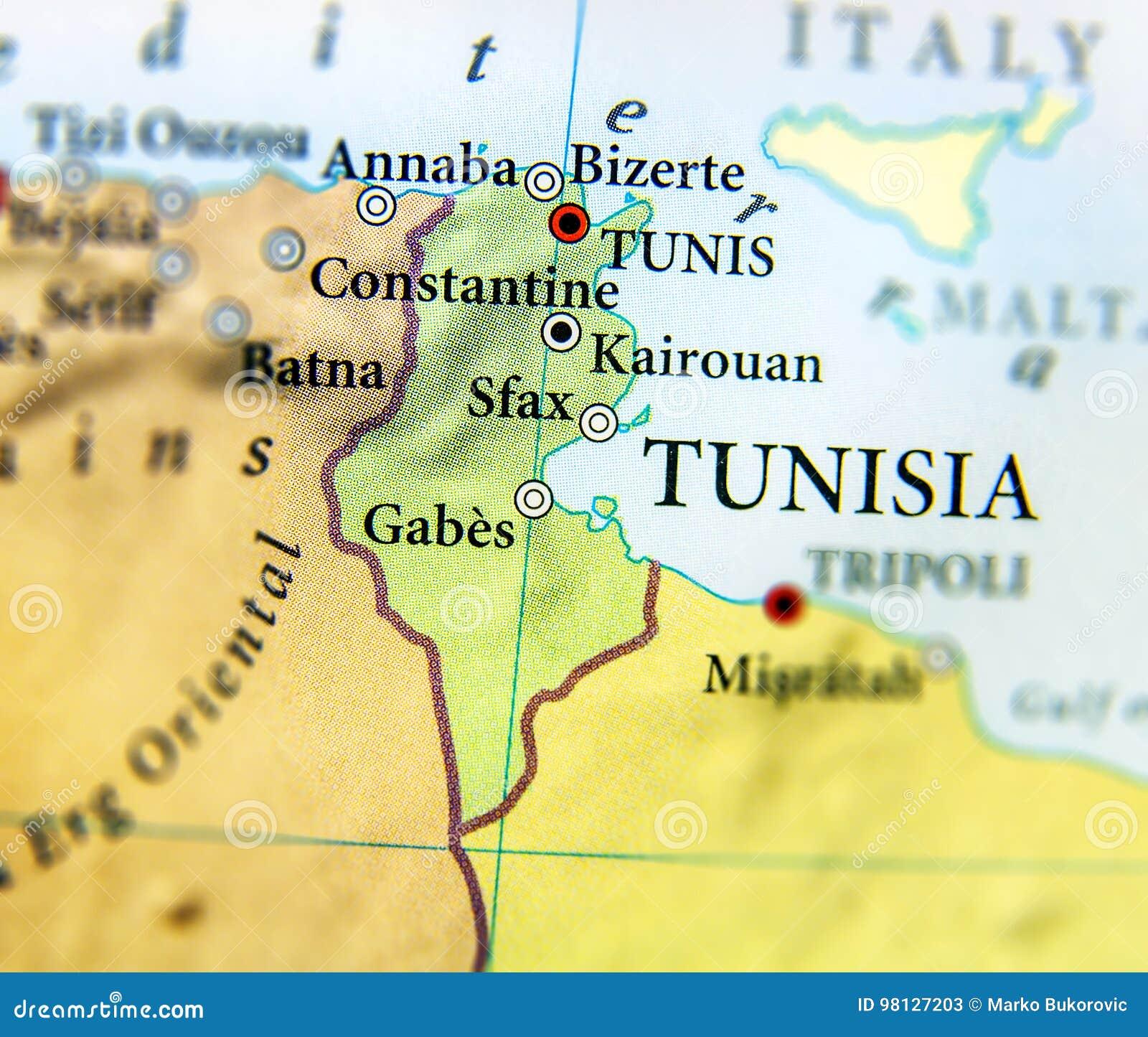 Tunesien Karte.Geographische Karte Von Tunesien Land Mit Wichtigen Stadten