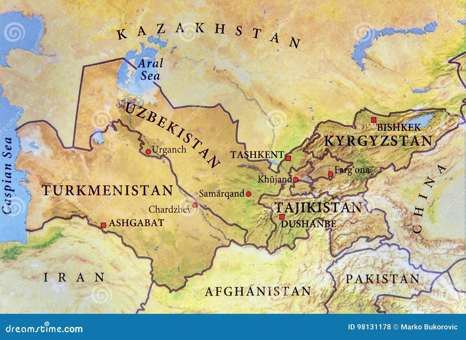 Usbekistan Karte.Geographische Karte Von Turkmenistan Von Tadschikistan Von