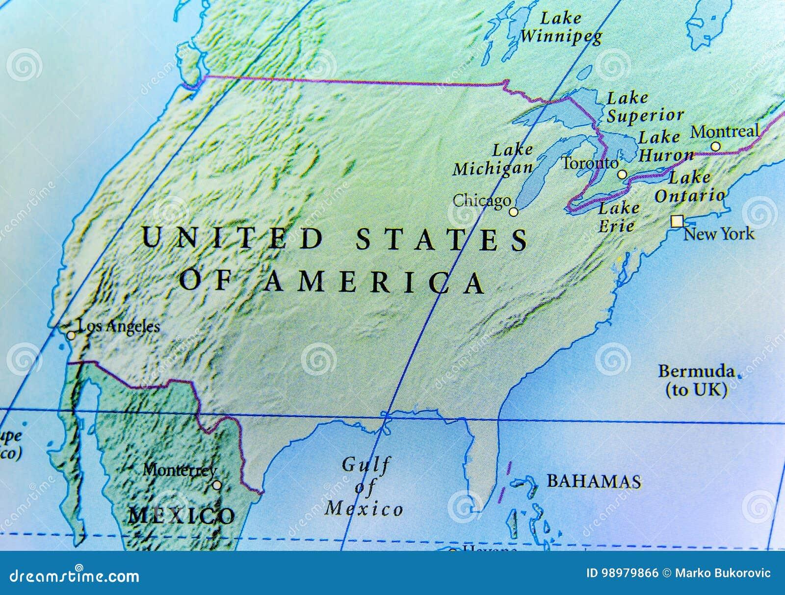 Geographische Karte Von Usa Land Mit Wichtigen Stadten Stockfoto