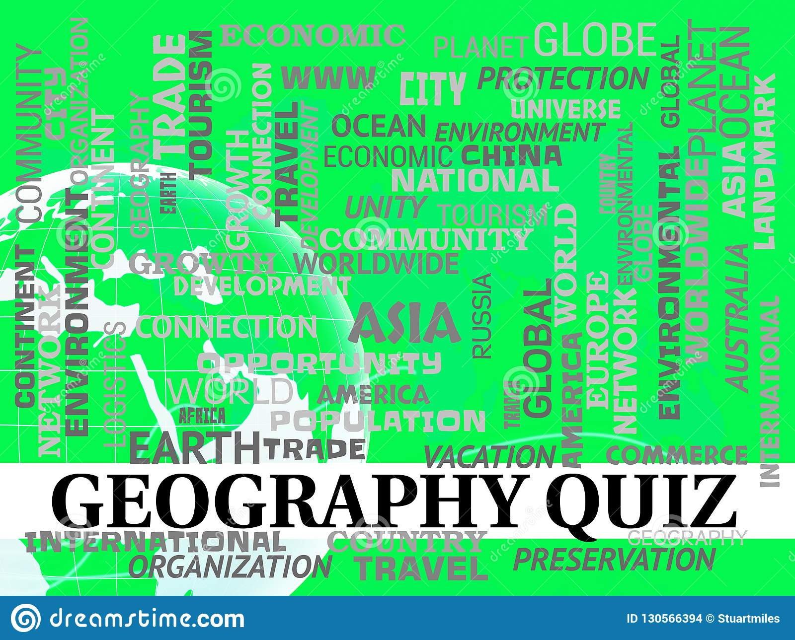 Geography Quiz Shows Planet Questions Or Test Stock ...
