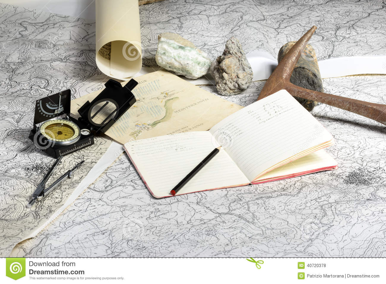 Download Geological expedition stock photo. Image of sieve, compass - 40720378
