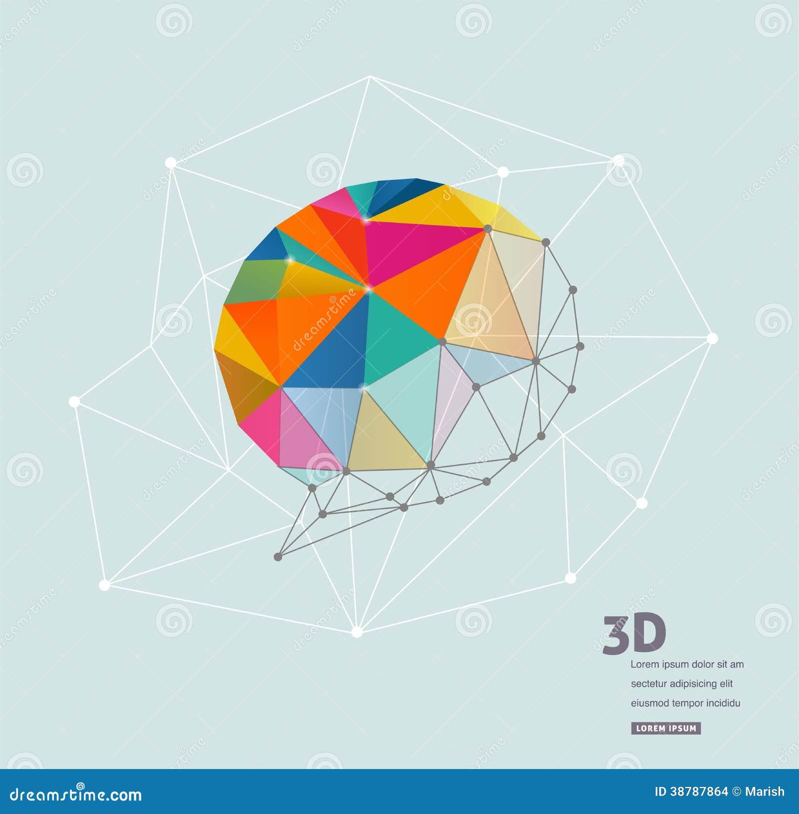 Geométrico poligonal, burbuja del discurso del vector 3D