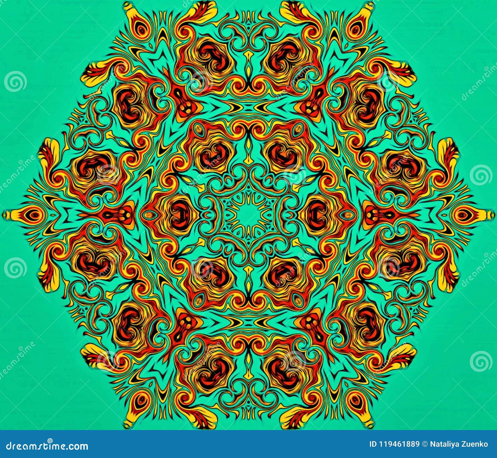 Geometría abstracta del arte moderno Mandala del este mística diseño tradicional del caleidoscopio floral Backgro simétrico psico