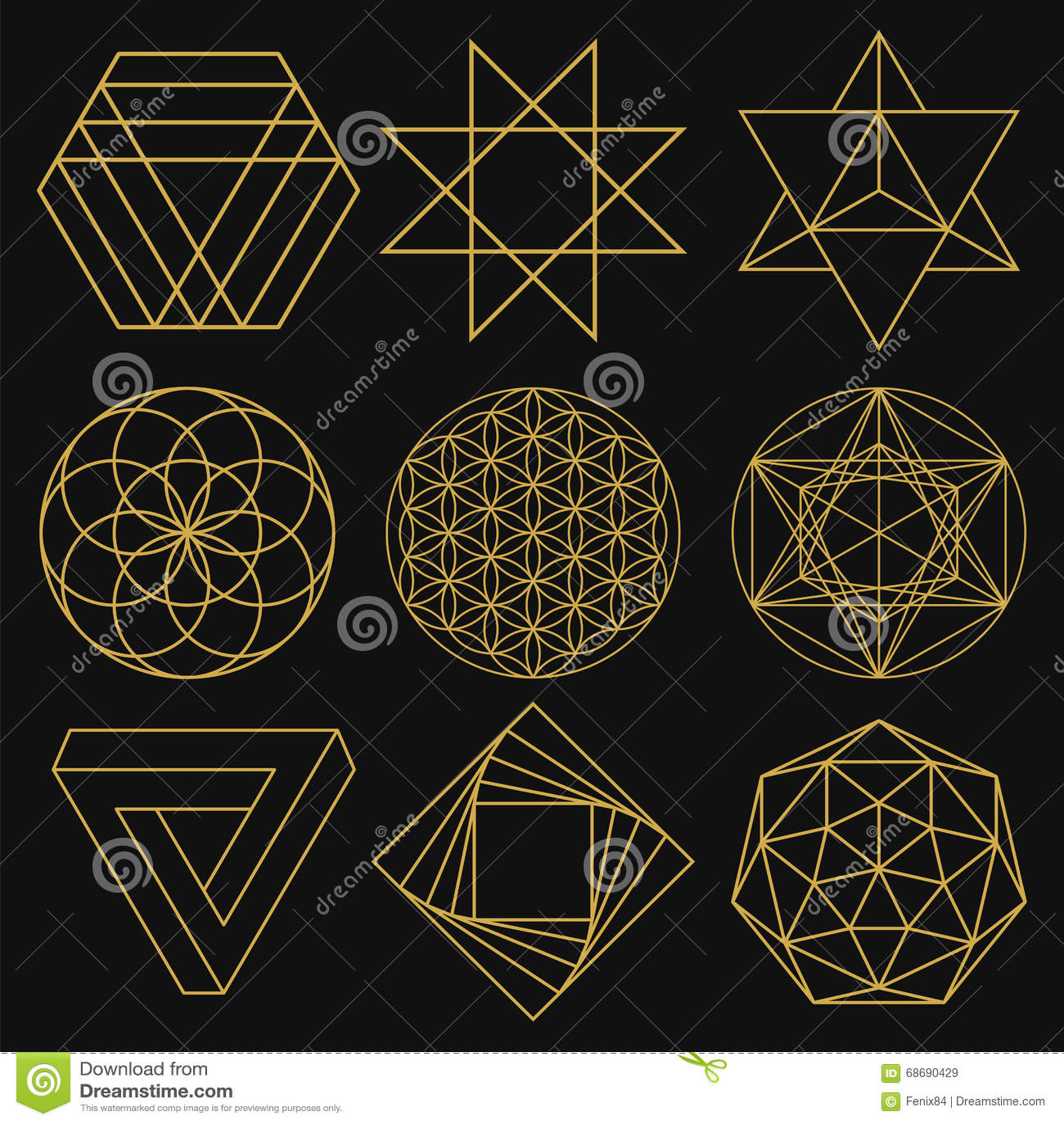 Geometria święta Set dziewięć postaci również zwrócić corel ilustracji wektora