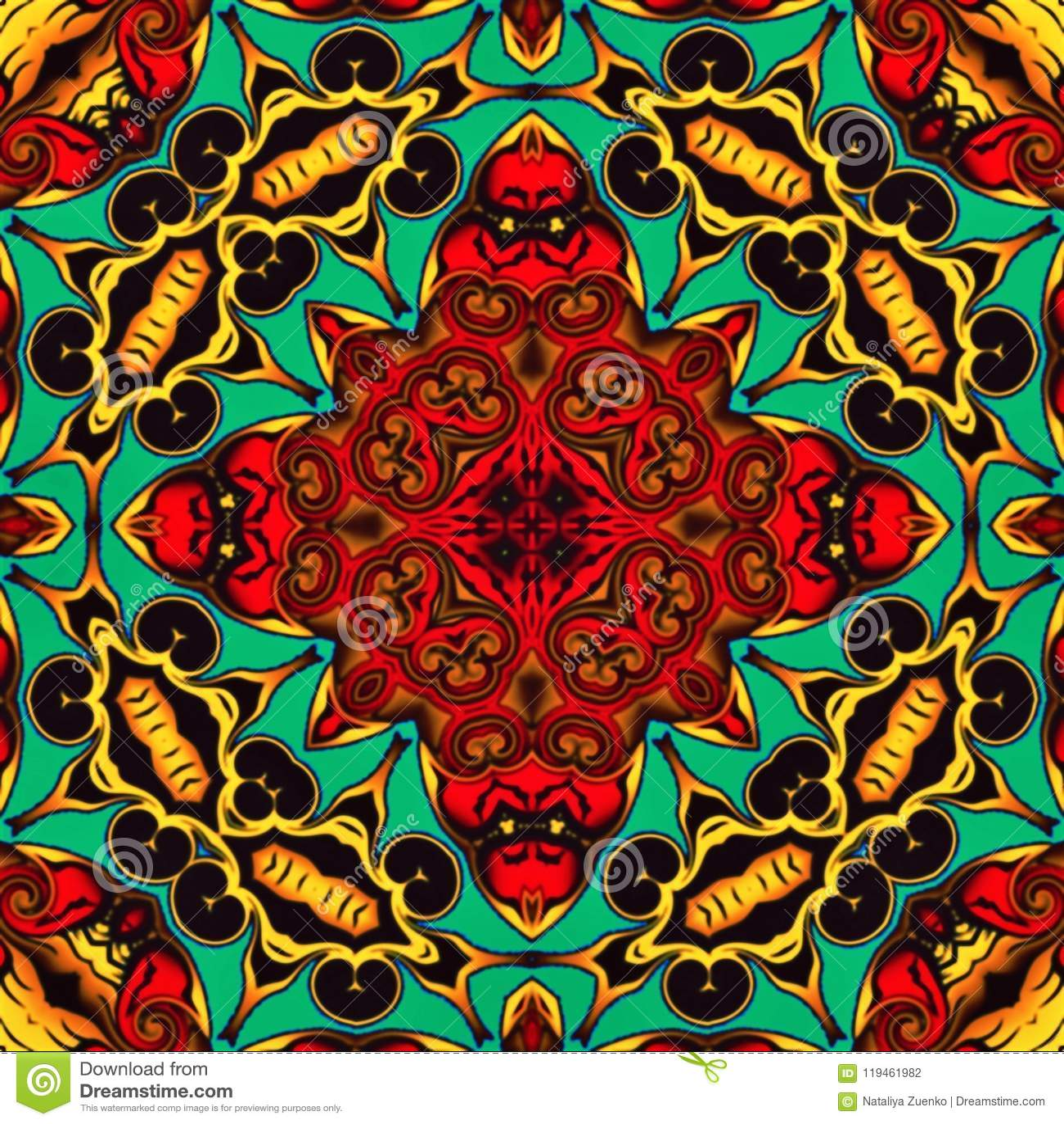 Geometria abstrata da arte moderna Mandala oriental místico projeto tradicional do caleidoscópio floral Backgro simétrico psicadé