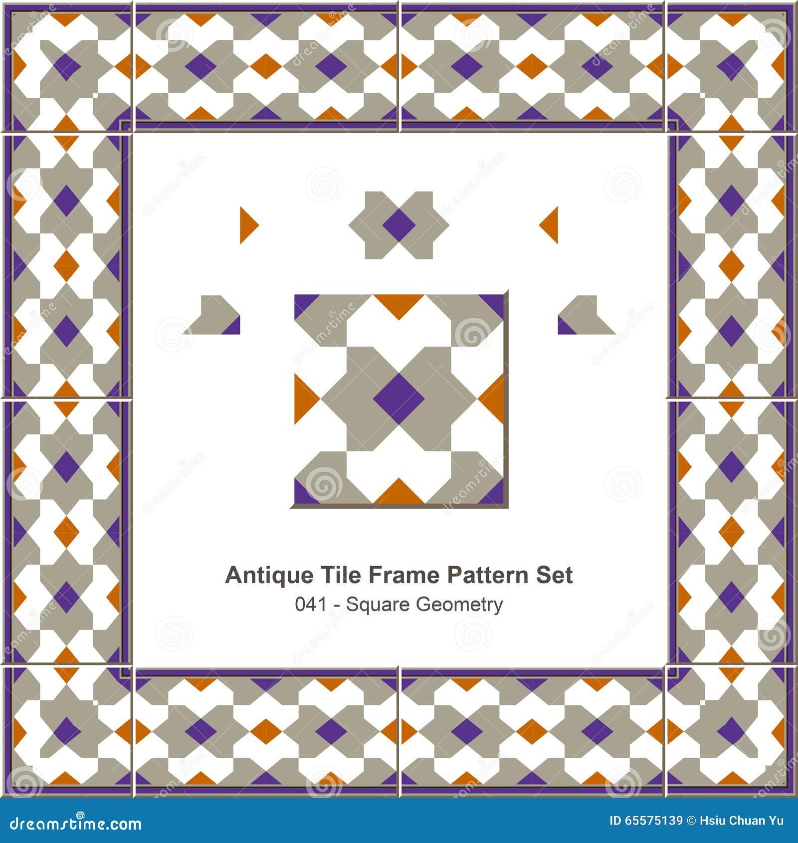 Geometria antiga do quadrado do teste padrão set_041 do quadro da telha