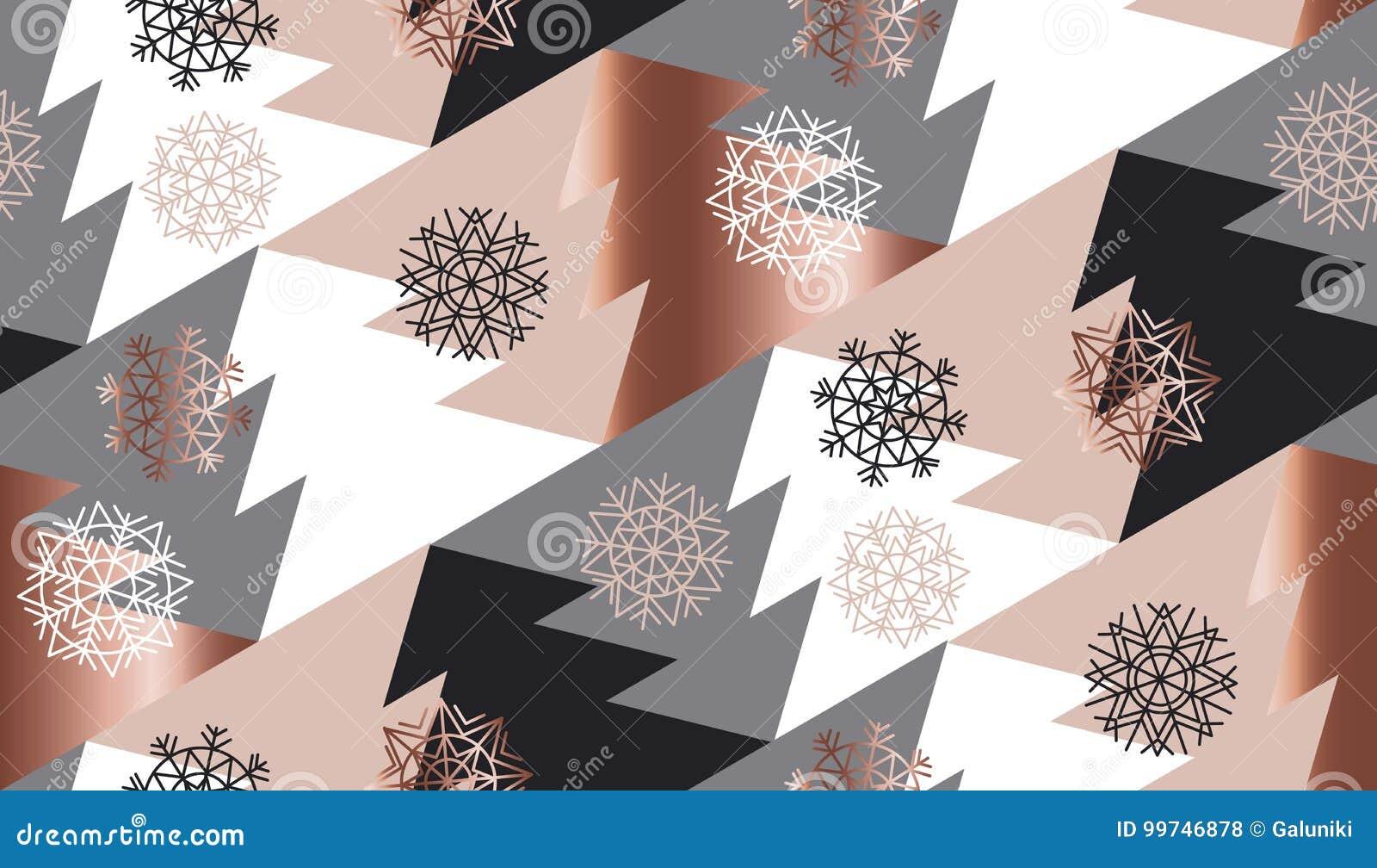 Geometria da árvore do xmas do sumário da cor do ouro de Rosa
