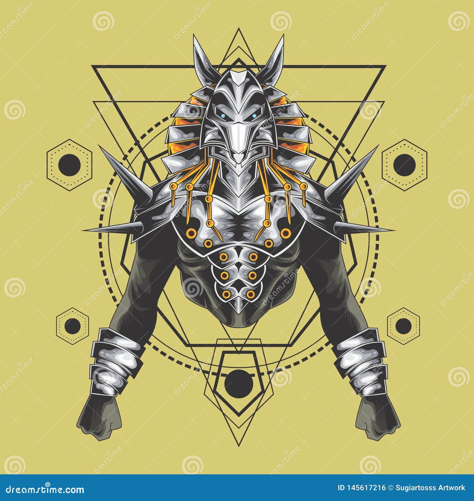 Geometria sagrado dos anubis poderosos
