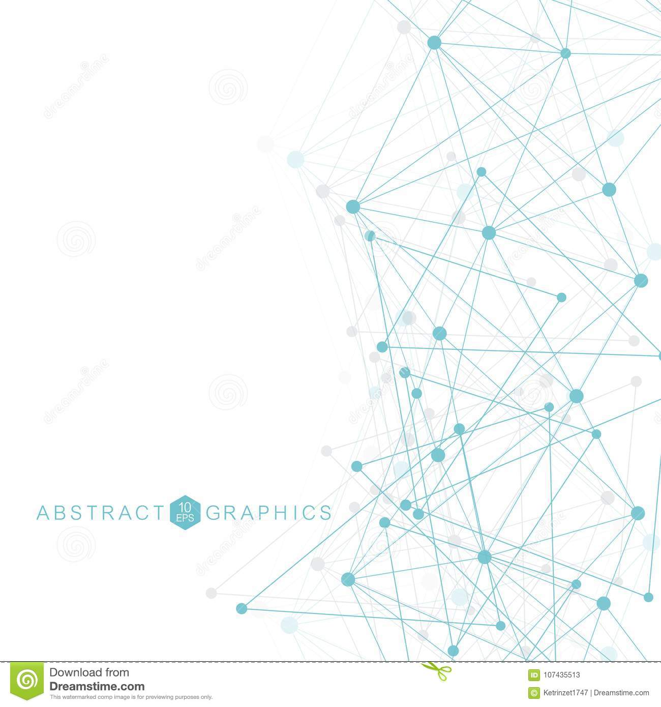 Geometric abstract background with connected line and dots. Structure molecule and communication. Big Data Visualization