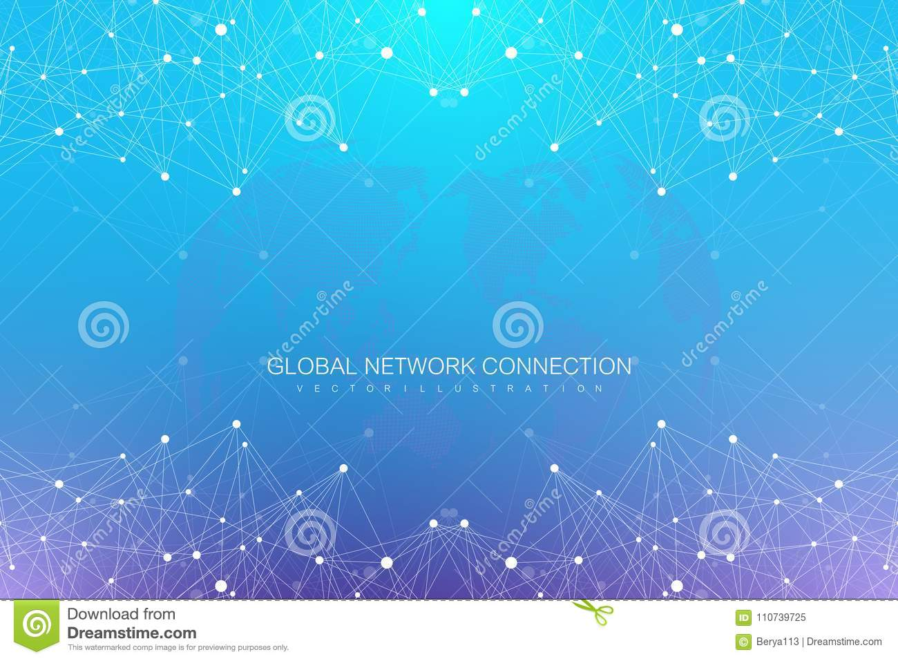 Geometric abstract background with connected lines and dots. Big data composition. Molecule and communication background