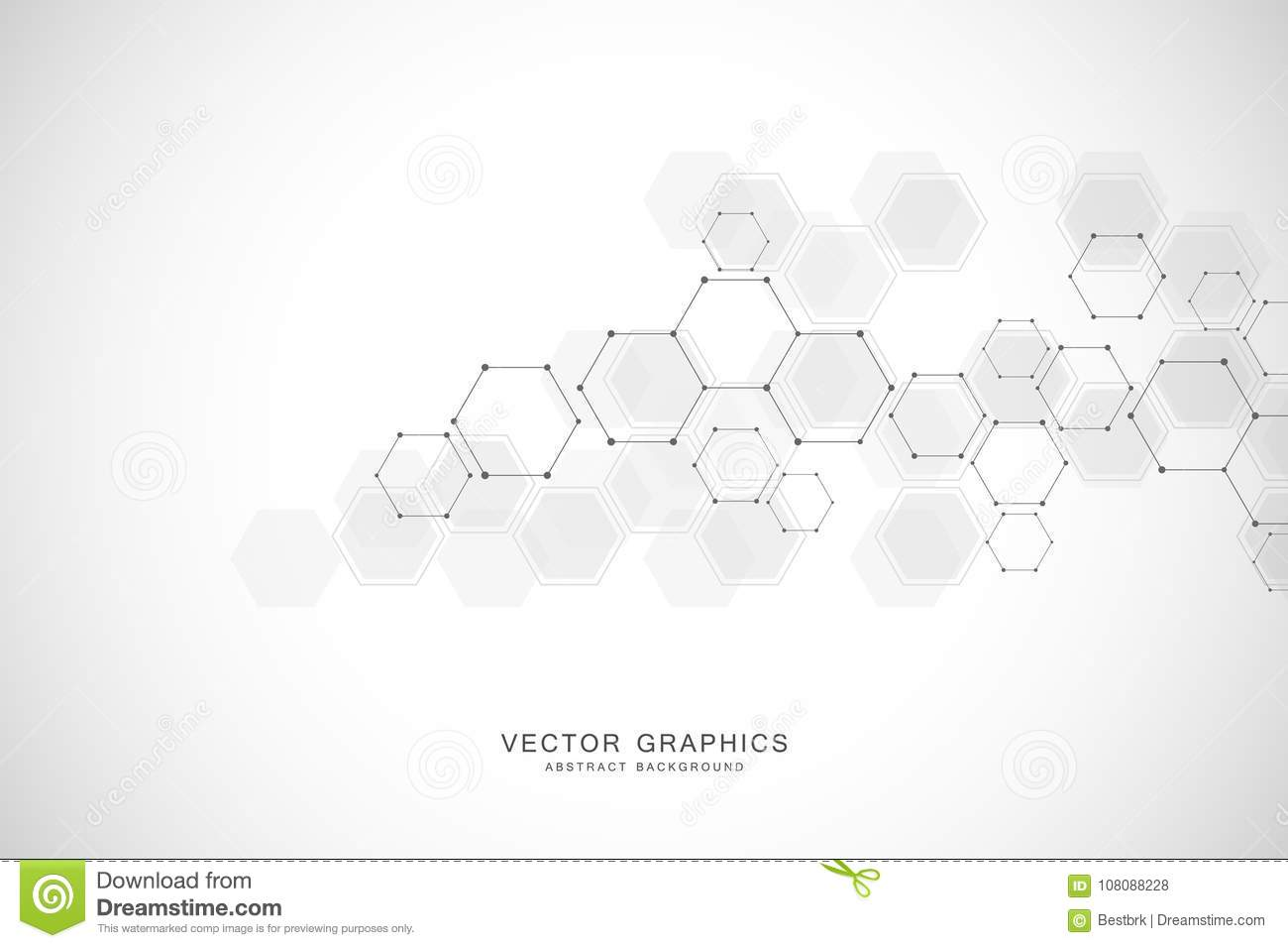 Geometric abstract background with hexagons. Structure molecule and communication. Science, technology and medical