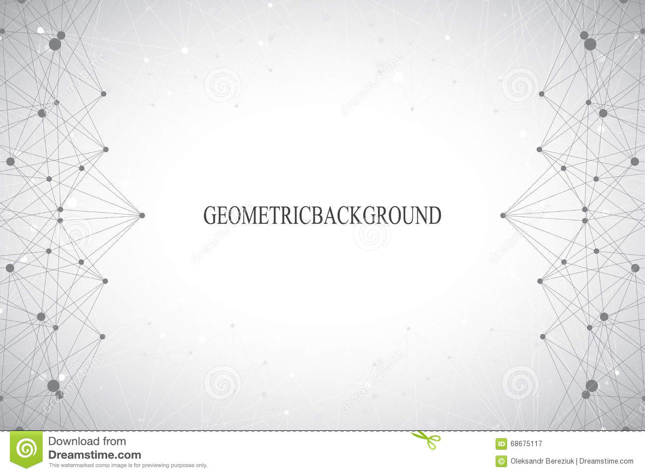 Geometric abstract grey background with connected lines and dots. Medicine, science, technology backdrop for your design