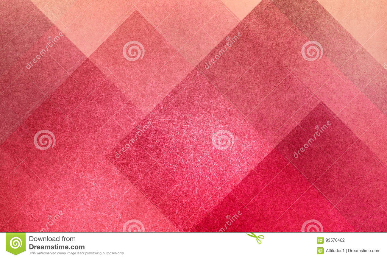 Geometric abstract pink and peach background pattern design with diamond and block squares layered with texture