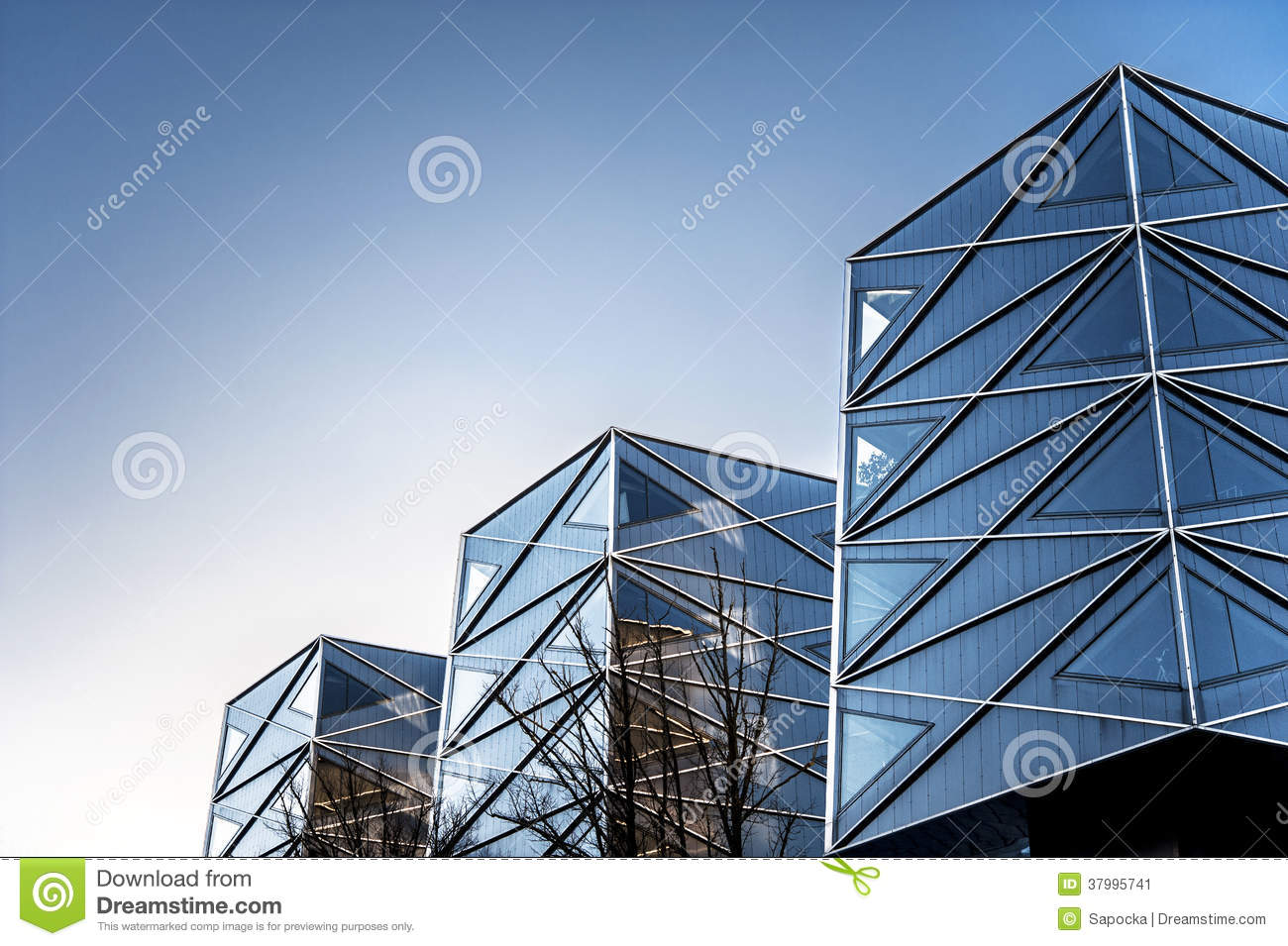 Geometric Angles Of Modern Buildings Outdoors Stock