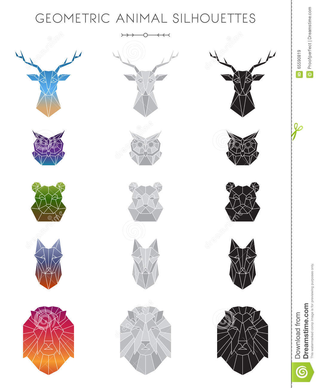 Silhouettes of 5 animal heads: deer, owl, bear, fox, and lion ...