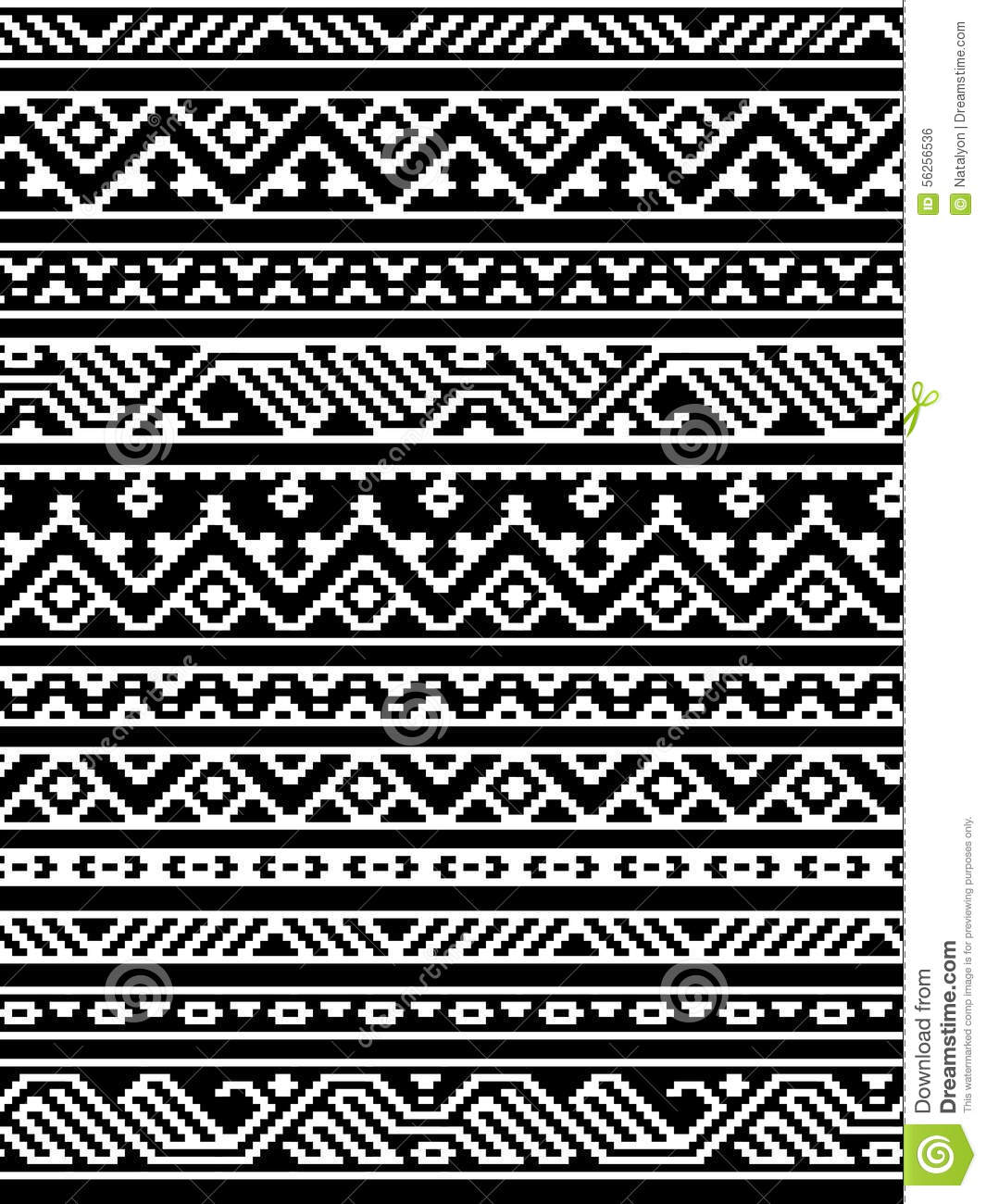 Geometric Aztec Black And White Seamless Pattern, Vector ...