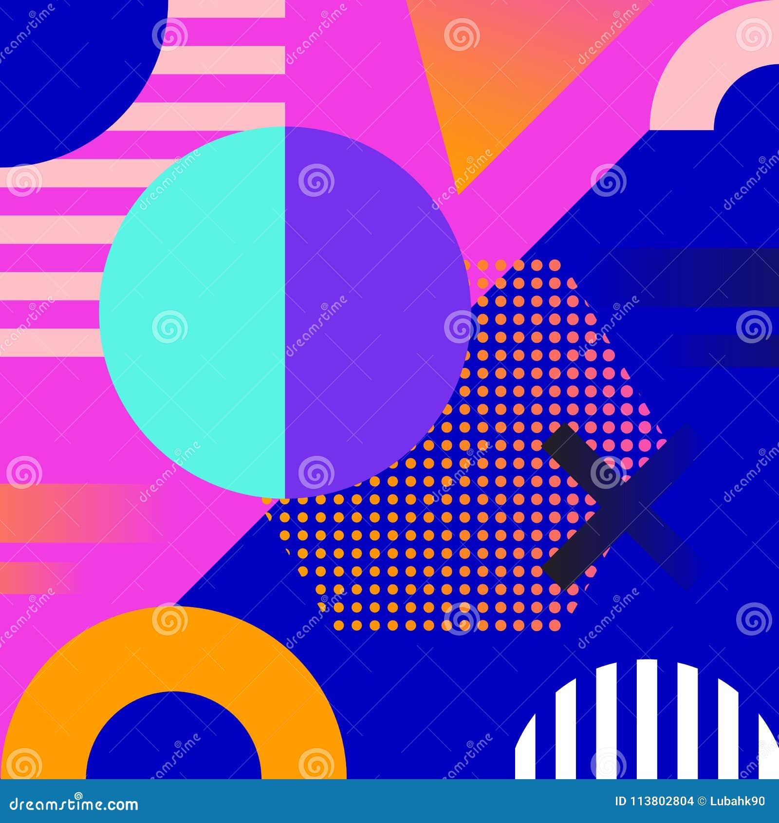 Geometric Background Memphis Design Cool Cover Design