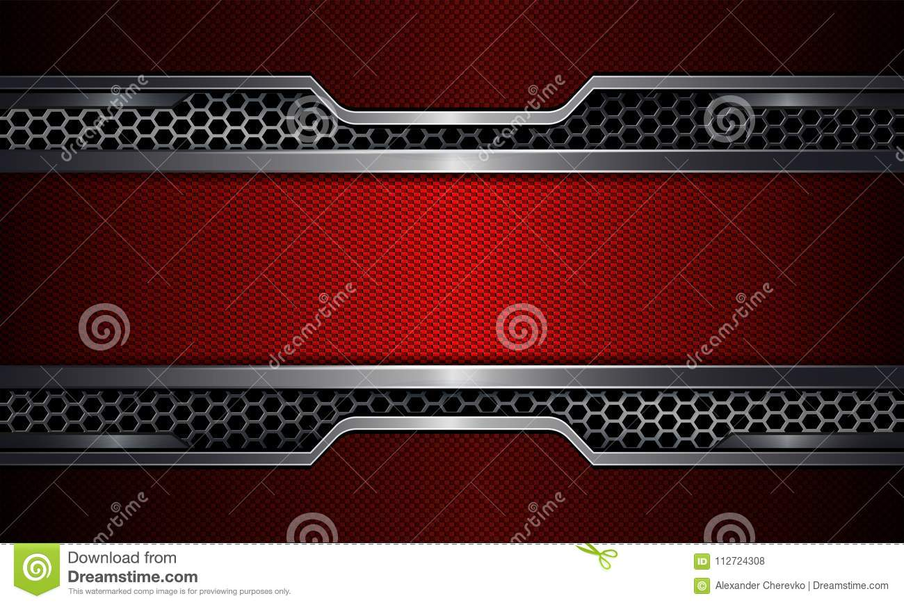 Geometric background, red frame with metal grille.