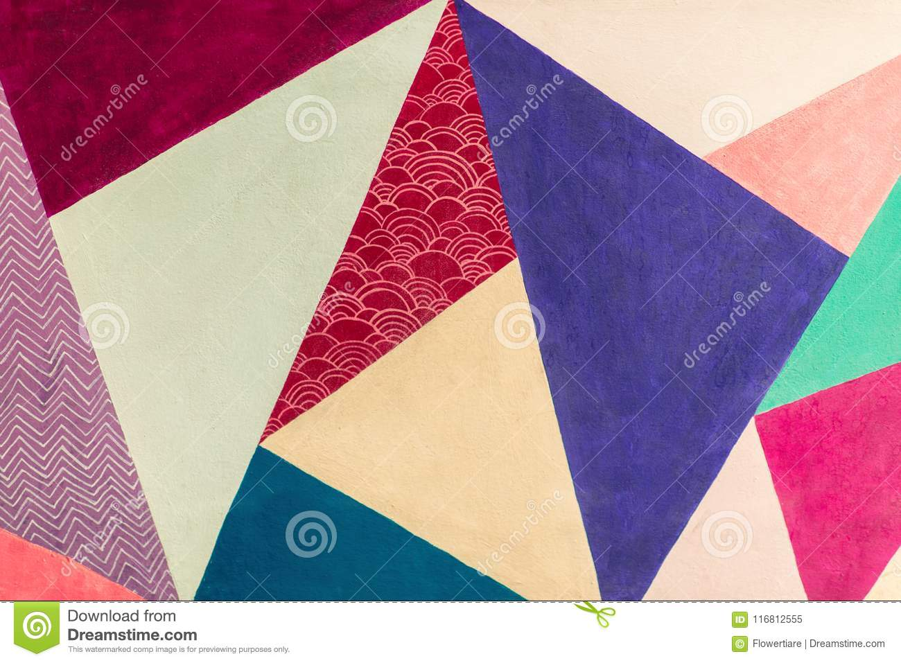 Geometric background of wall with bright tones. pop art style