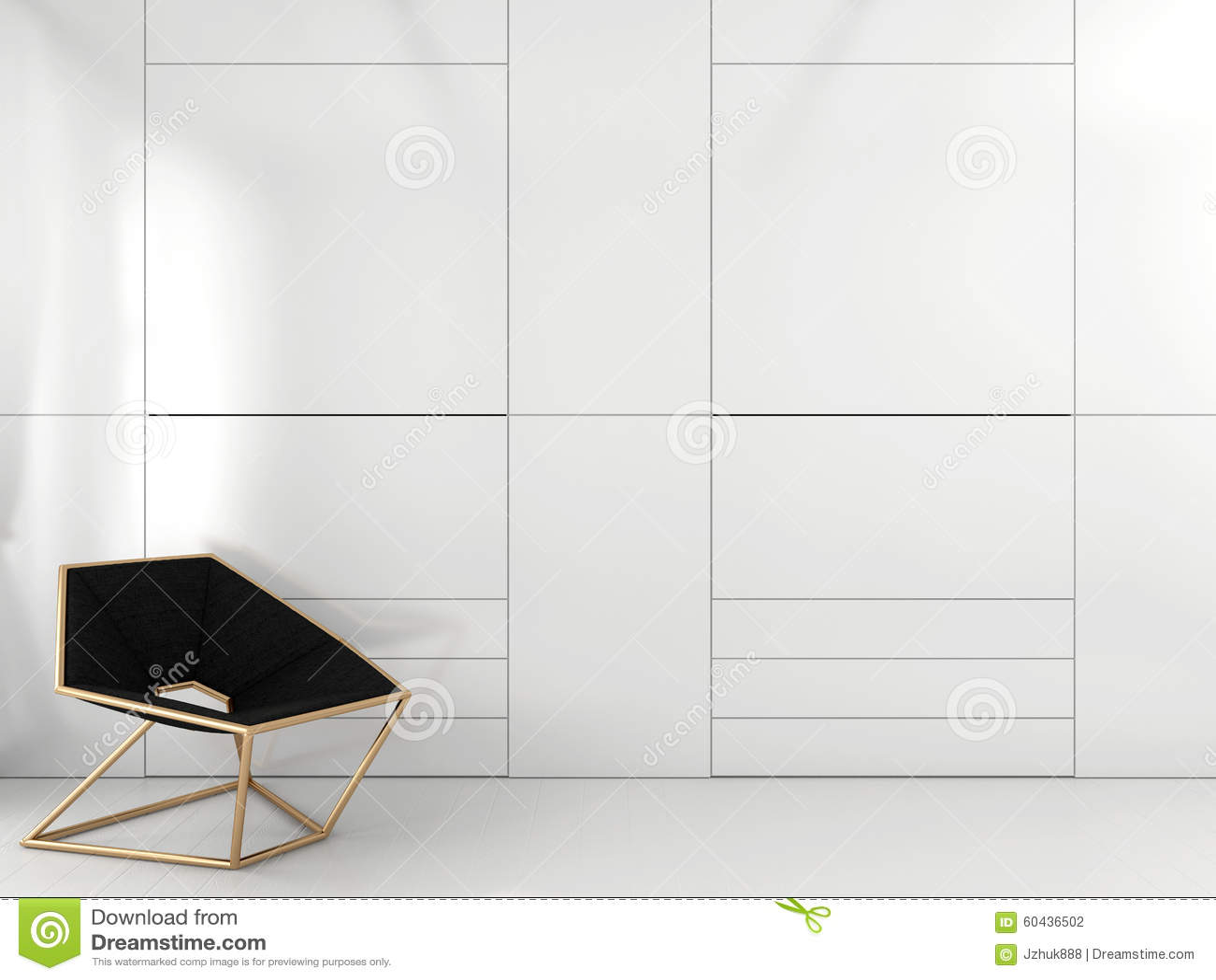 Geometric Black Chair And White Closet
