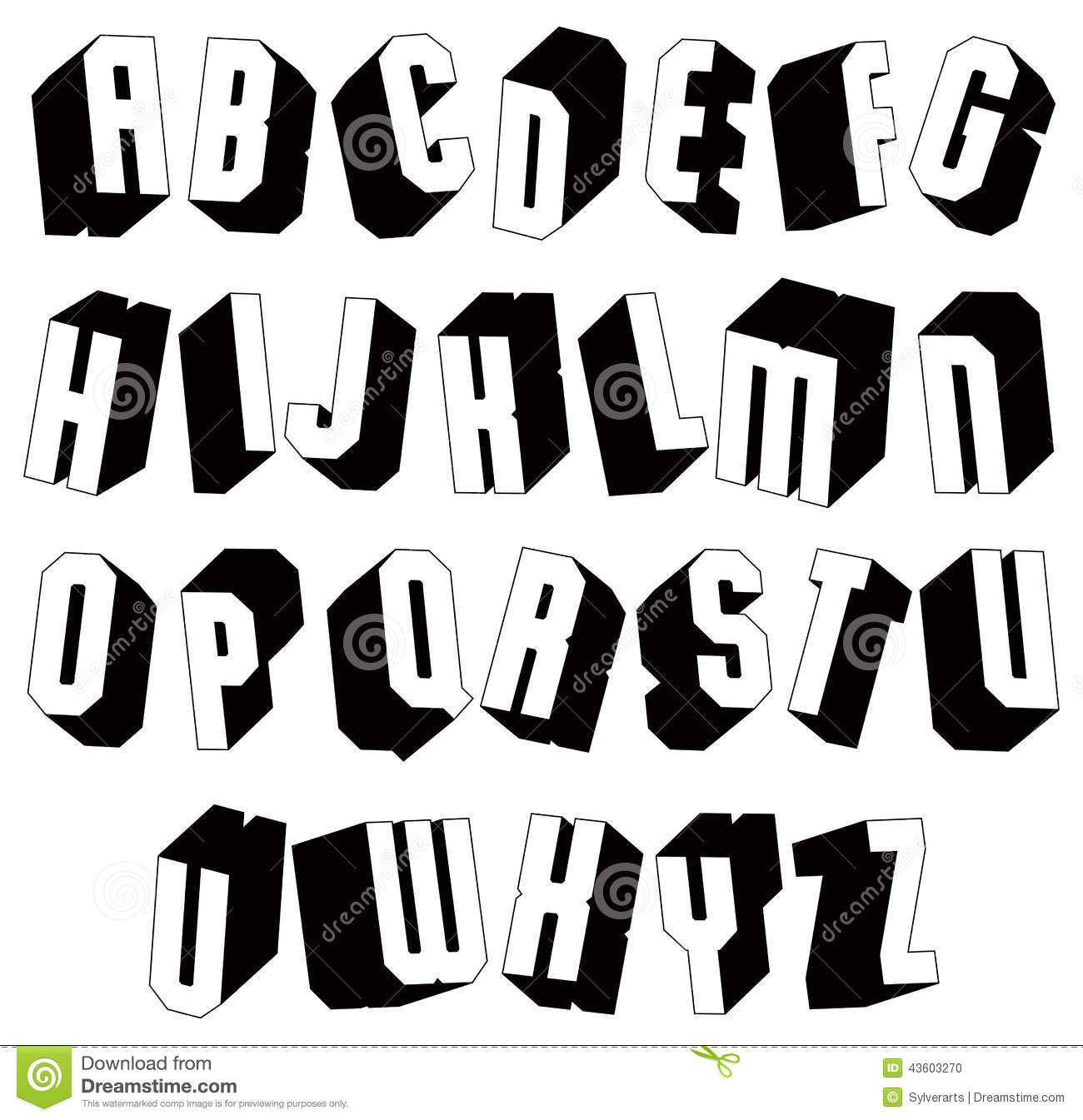 Geometric Black And White 3d Font Single Color Simple Bold Heavy Letters Alphabet Best For Use In Web Design Advertising Headlines