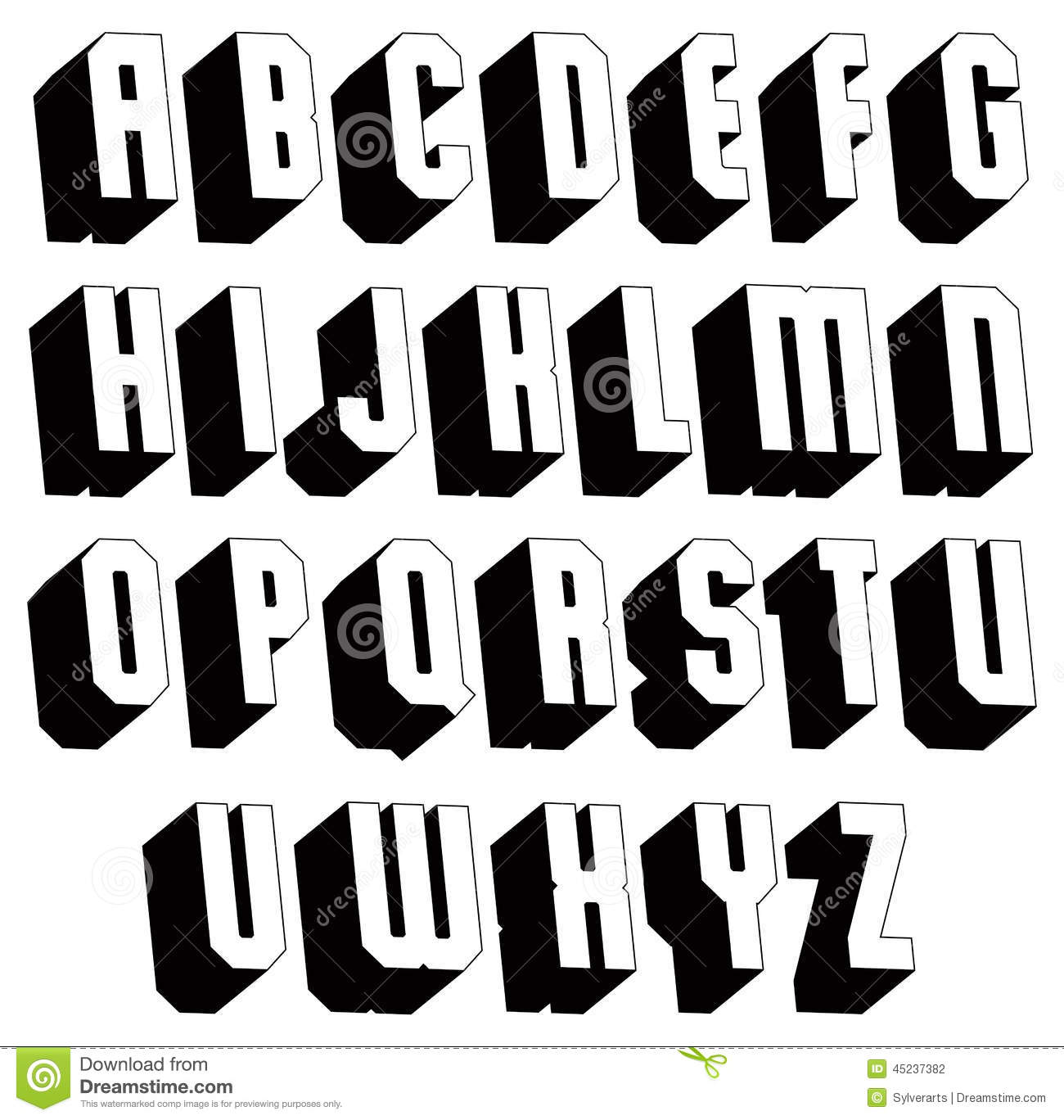 Geometric Black And White 3d Font Stock Vector Illustration Of