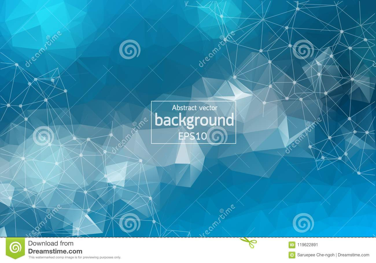 Geometric Blue Polygonal background molecule and communication. Connected lines with dots. Minimalism background. Concept of the s