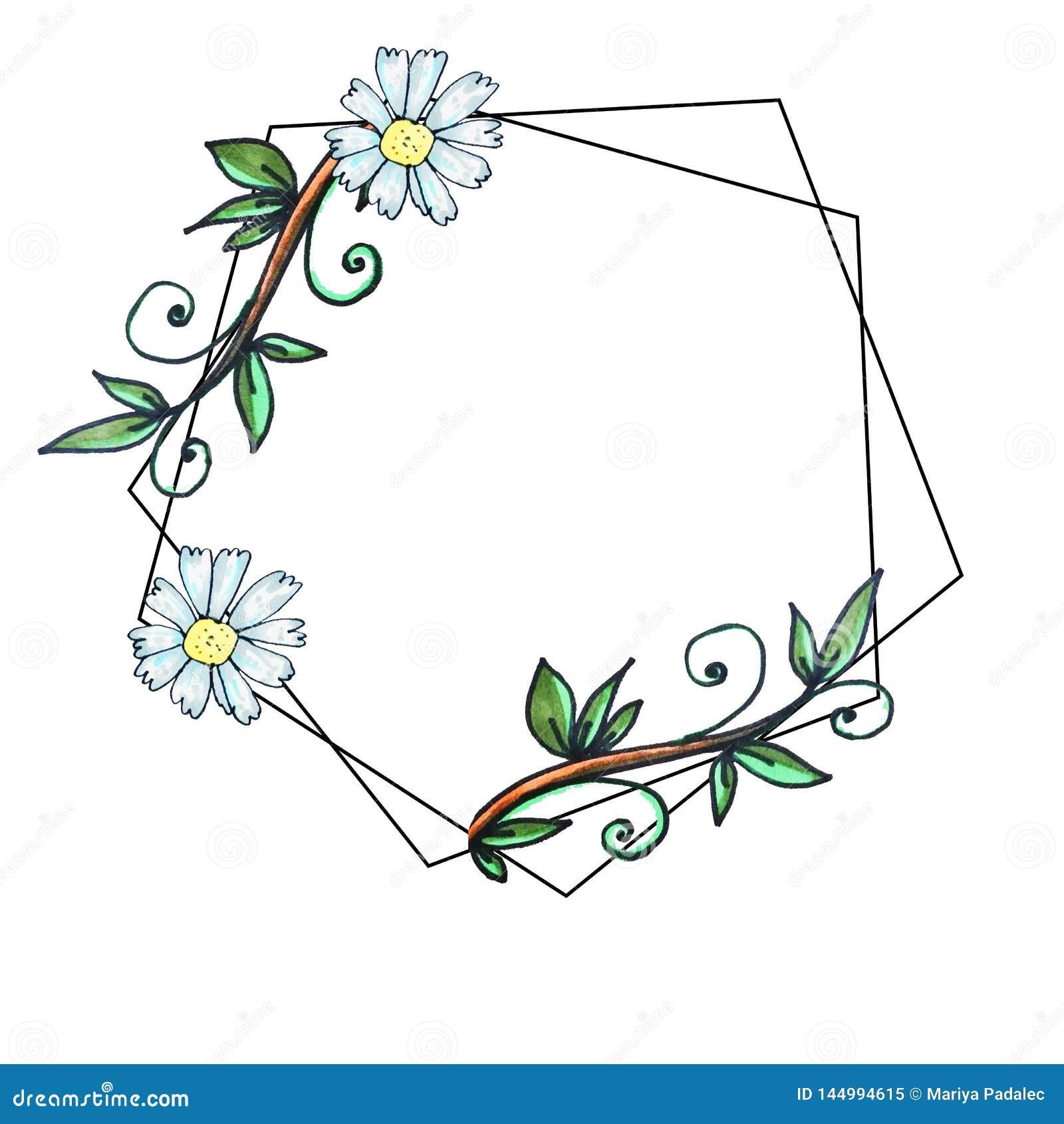 geometric border hexagonal print cute garden greeting