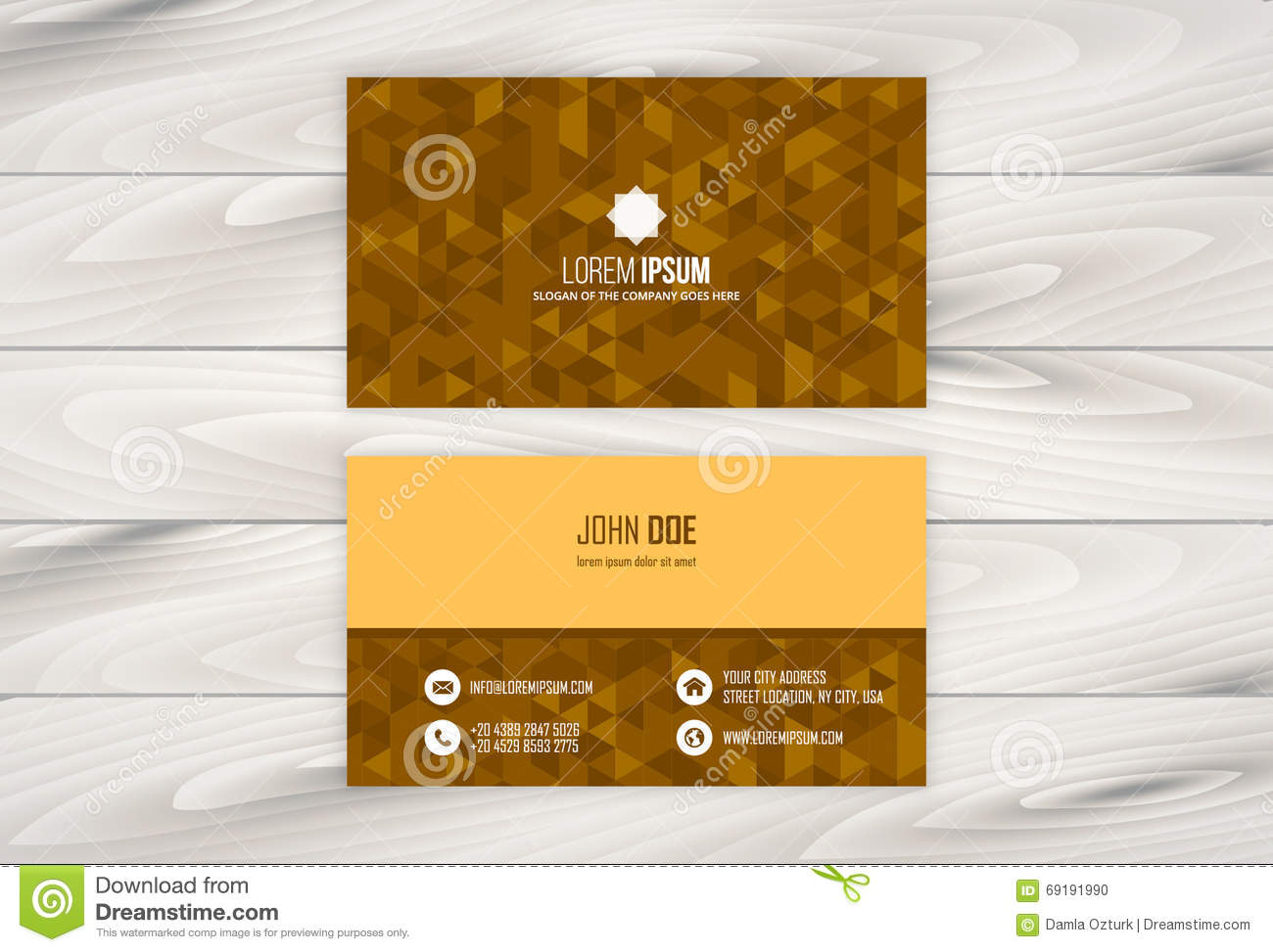 Geometric Business Card Design Template With Wooden Background Stock ...