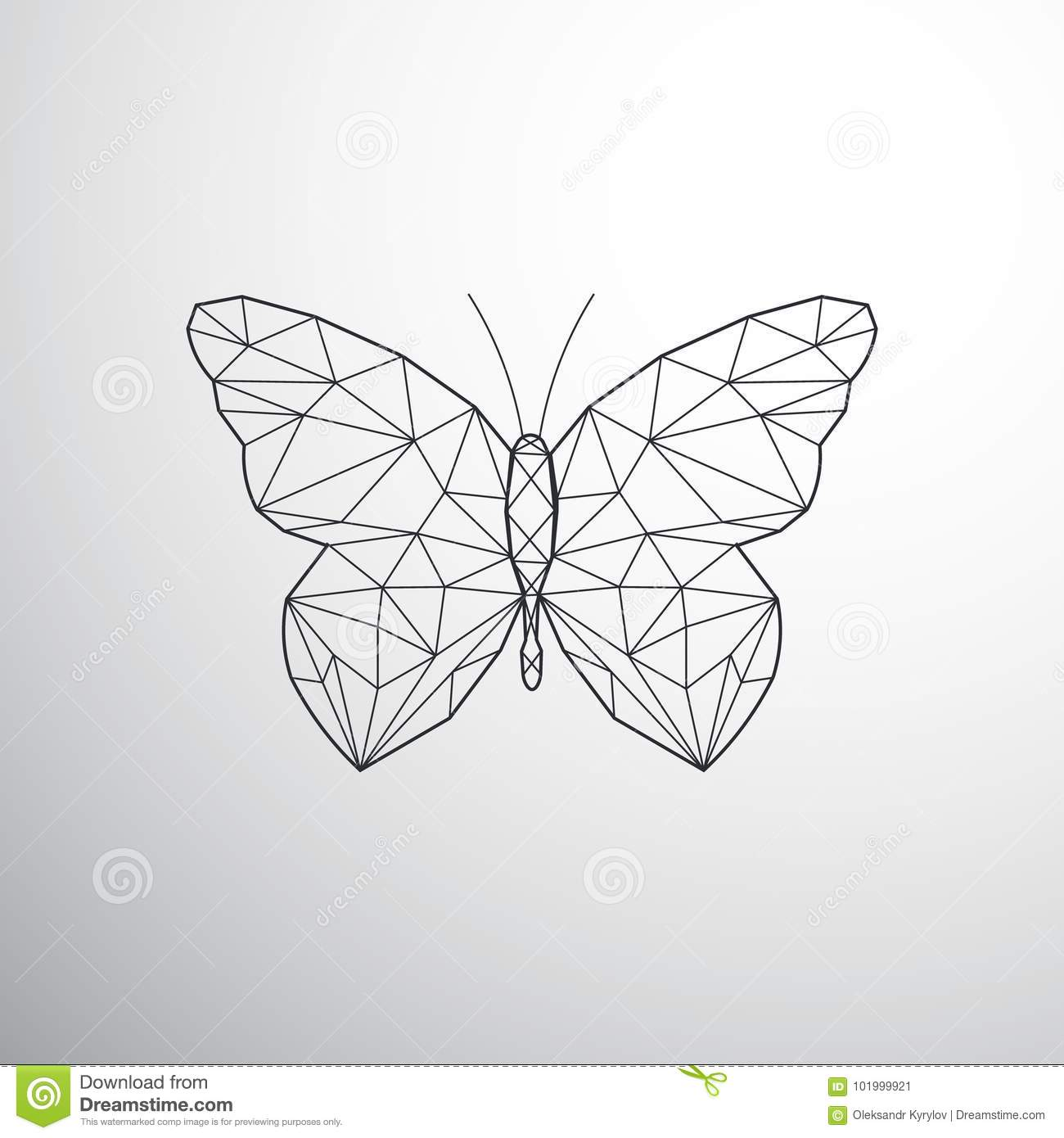 20250701a Geometric butterfly stock vector. Illustration of origami - 101999921