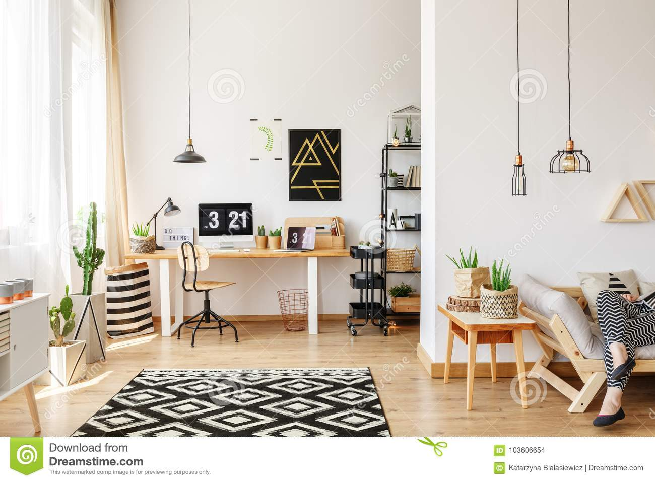 Bon Geometric Carpet In Classic Home Office With Laptop And Lamp On Desk And  Black Poster On Wall