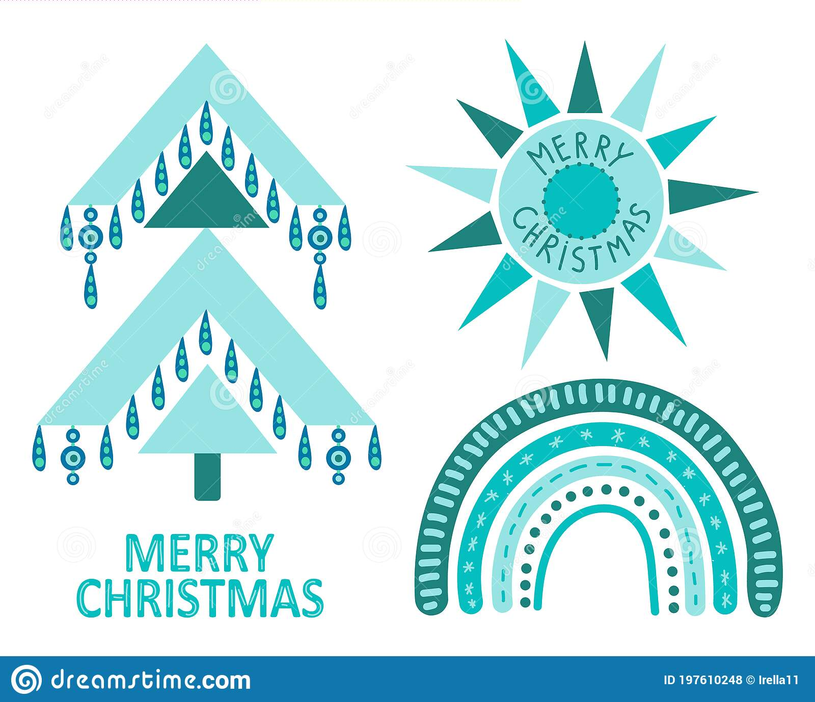 Geometric Christmas Tree With Ethnic Ornaments In Bohemian Style Isolated On White Background Winter Holidays Rustic Decor Stock Vector Illustration Of Blue Decorated 197610248