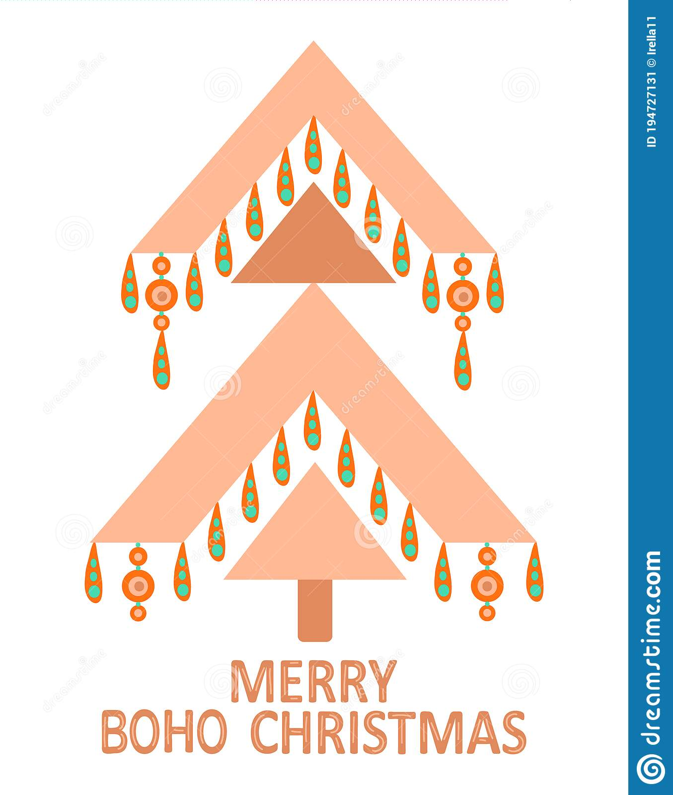 Geometric Christmas Tree With Ethnic Ornaments In Bohemian Style Isolated On White Background Winter Holidays Rustic Decor Stock Vector Illustration Of Color Home 194727131