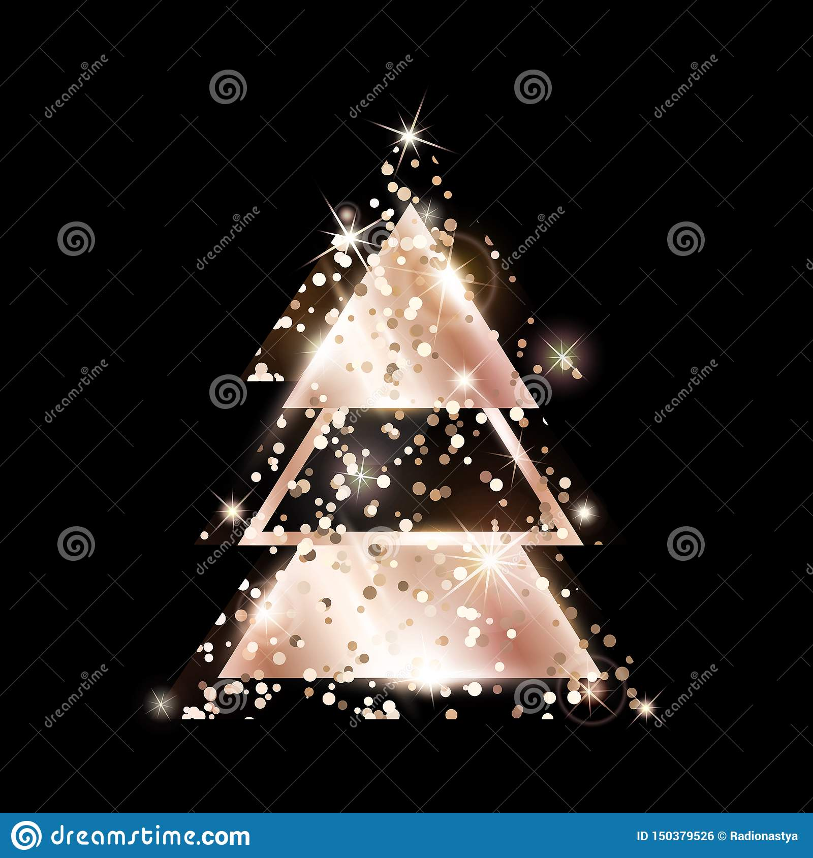 A Geometric Christmas Tree Rose Gold Glitter Stock Vector Illustration Of Glow Glitter 150379526