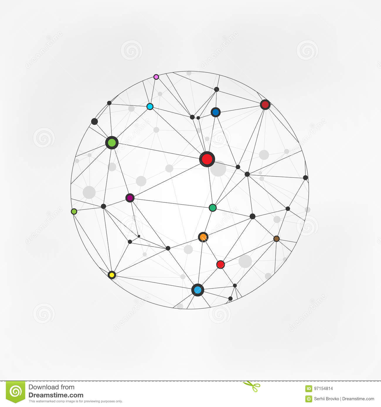 Geometric Circles Molecular. Wireframe connecting earth sphere. Globe connection concept. Globe structure connect. on gre