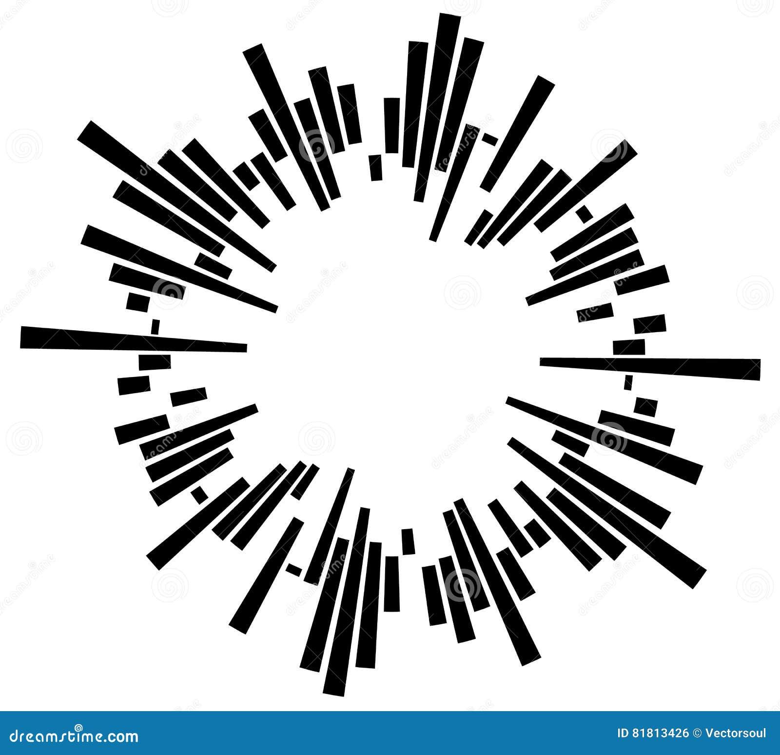 Geometric circular element with irregular radial lines, bars. Re