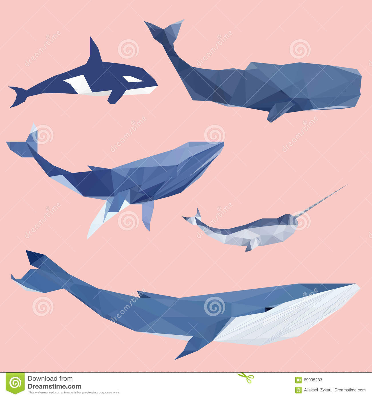 Geometric Colored Whale Set Stock Photos