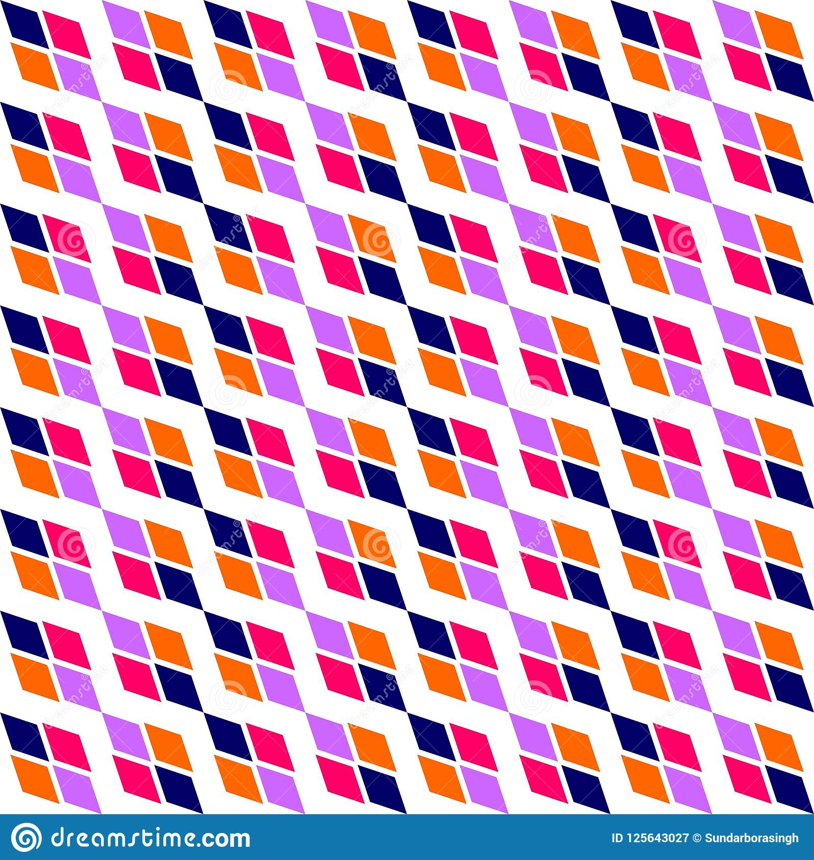 Geometric Colourful Diagonal Texture With Rhombuses Traditional