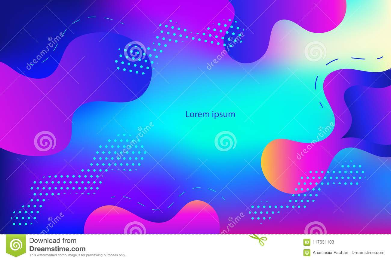 Geometric cover. Gradient shapes composition. Cool modern neon blue color. Abstract fluid shapes.Liquid and fluid poster.Futuristi
