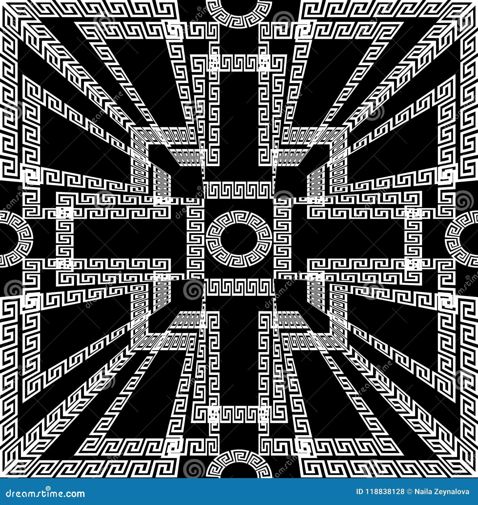 Geometric Creative Greek Key Meanders Seamless Panel Pattern Bl