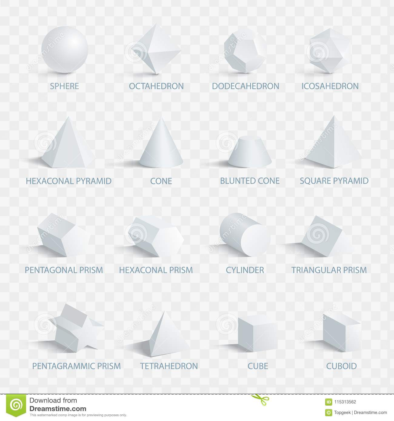 Geometric 3d shapes with names vector illustration stock vector download comp ccuart Gallery