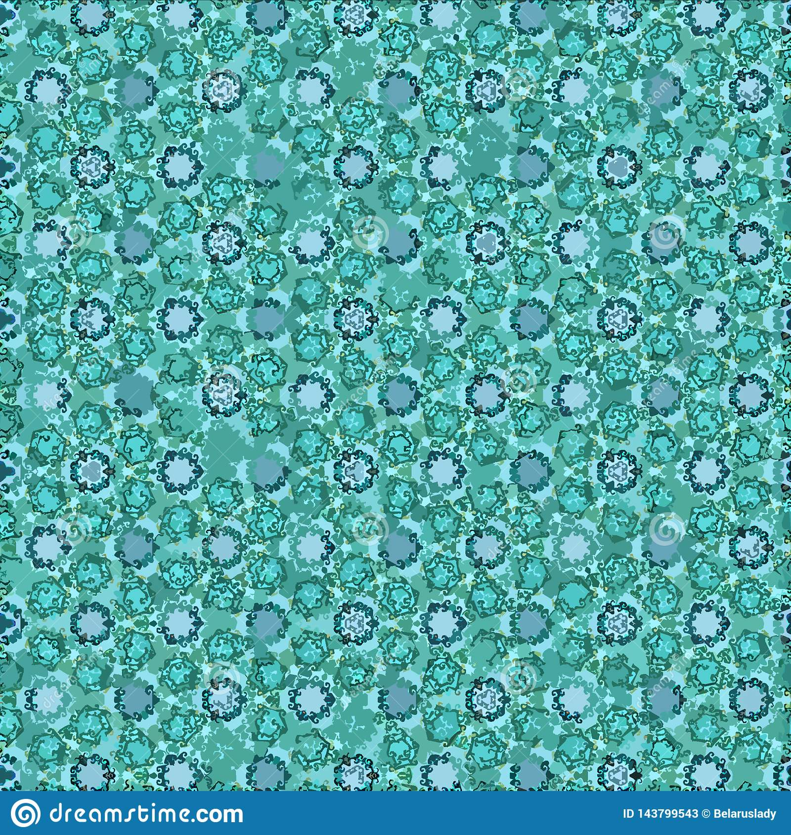 The Texture Of Teal And Turquoise: Geometric Decorative Continuous Texture In Teal Color