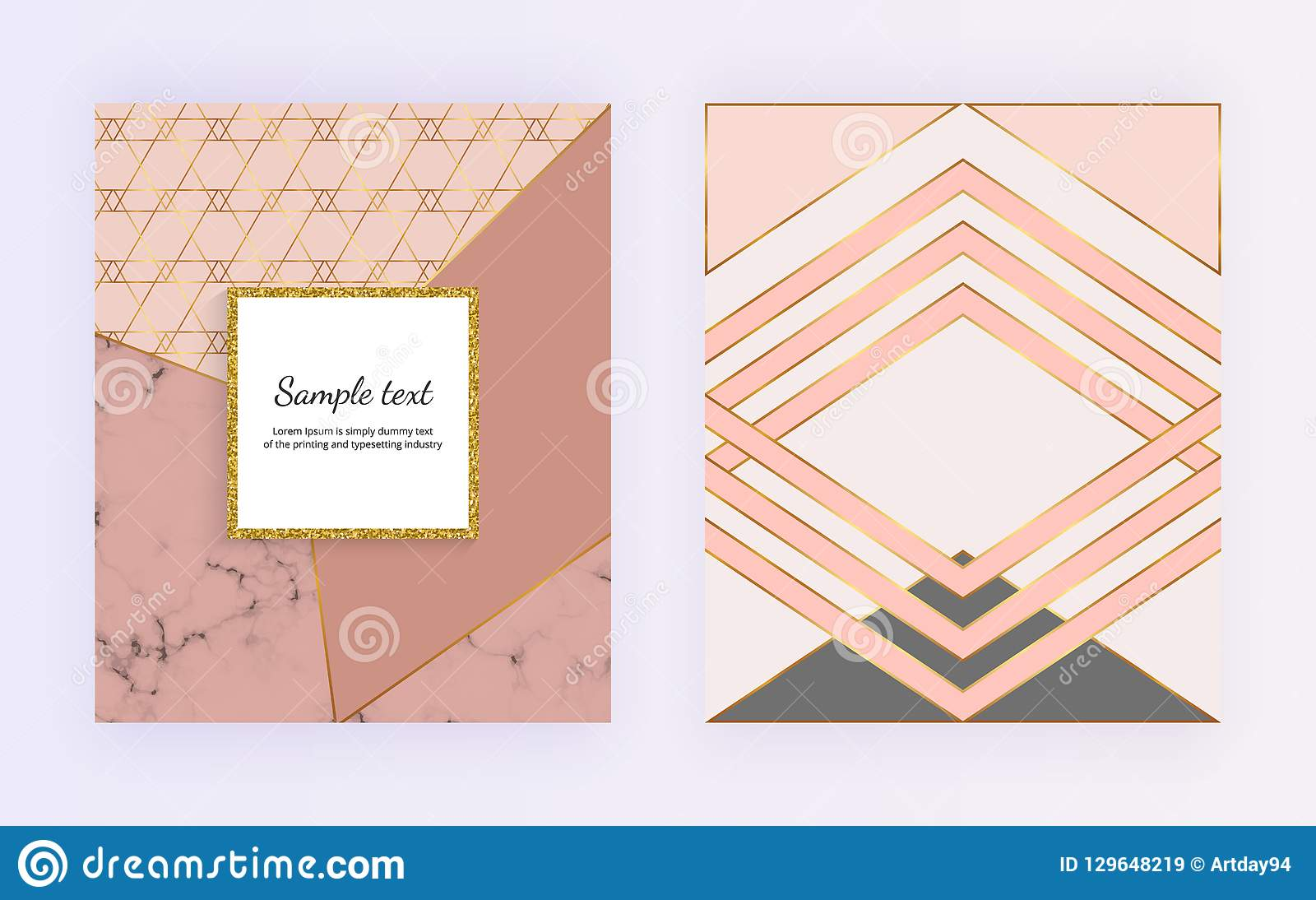 Geometric design with golden lines, triangular shapes. Modern templates for invitation, wedding, placard, birthday, brochure